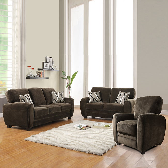 Daventry 3 piece chocolate living room set 14326933 for 3 piece living room furniture