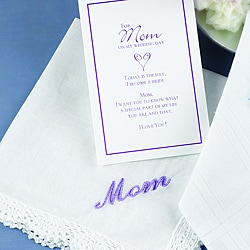 HBH Mother-of-the-Bride White Hanky with Lavender 'Mom' Embroidery