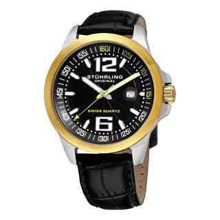 Stuhrling Original Men's Concorso Villa Black Leather Strap Watch