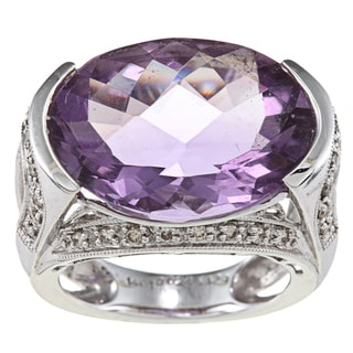 14k White Gold 1/2ct TDW Amethyst Ring (H-I, SI1-SI2)