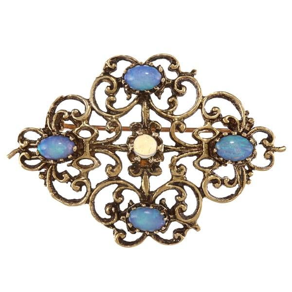 14k Yellow Gold Antique Opal Brooch