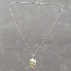 'Be Yourself' 925 Sterling Silver Dog Tag Pendant Necklace (Thailand)