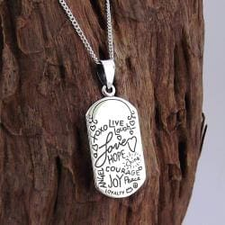 Inspirational Phrase 'Live Laugh Love' .925 Silver Necklace (Thailand)