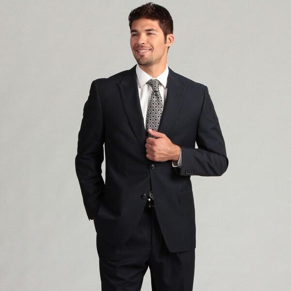 Sean John Men's 2-button Navy Striped Suit