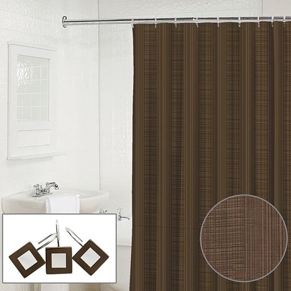 Waverly Linen 2-piece Espresso Shower Curtain and Hook Set