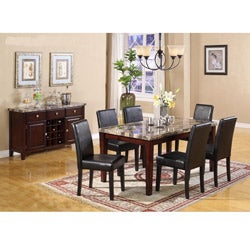 Radian Faux Emperor Dark Marble 7 Piece Dining Set with Black Chair