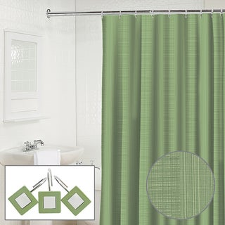 Waverly Linen 2-piece Jade Shower Curtain and Hook Set | Overstock.
