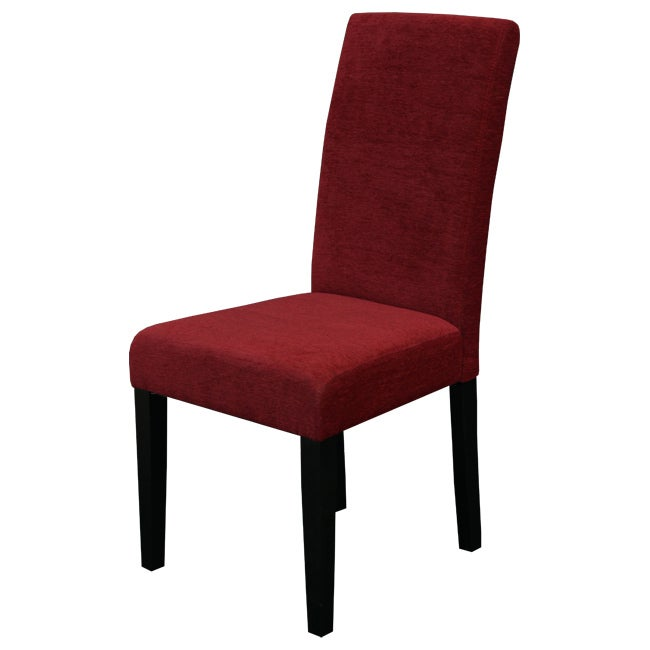 Aprilia dark red upholstered dining chairs set of 2 for Red dining room chairs