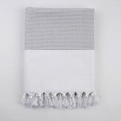 Turkish Grey Stripe Fouta Bath/ Beach Towel