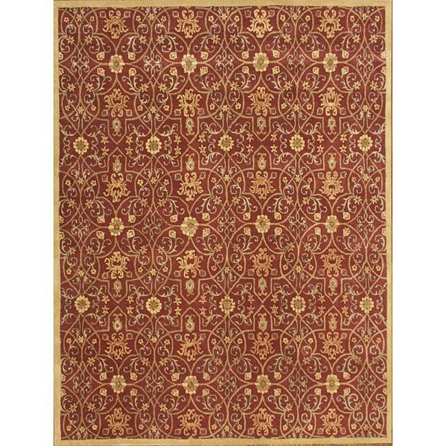 Alliyah Handmade Burgundy New Zealand Blend Wool Rug (9' x 12')