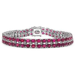 Malaika Sterling Silver 22.73ct Genuine Ruby and White Topaz Bracelet