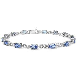 Malaika Sterling Silver 3-1/2ct Genuine Tanzanite Ovals Bracelet