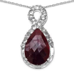 Malaika Sterling Silver 6 1/3ct TGW Ruby and White Topaz Necklace