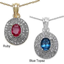 Malaika Yellow Gold Overlay Sterling Silver Ruby and White Topaz Pendant