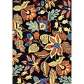 Sabrina Hand Made Floral Apricot Orange Wool Rug (5' x 8')