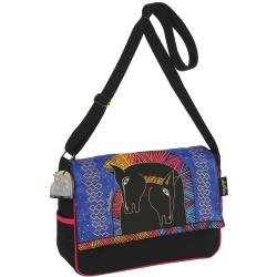 "Messenger Bag Zipper Top 15""X4-1/5""X10""-Embracing Horses"