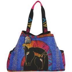"Large Gap Tote Snap Closure 21""X6""X15""-Embracing Horses"