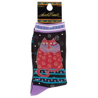Laurel Burch Socks-Crimson Cat