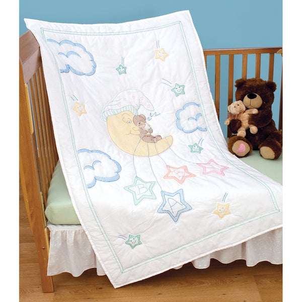 "Stamped White Quilt Crib Top 40""X60""-Bear On The Moon"