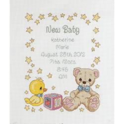 Precious Moments Birth Record Counted Cross Stitch Kit-11