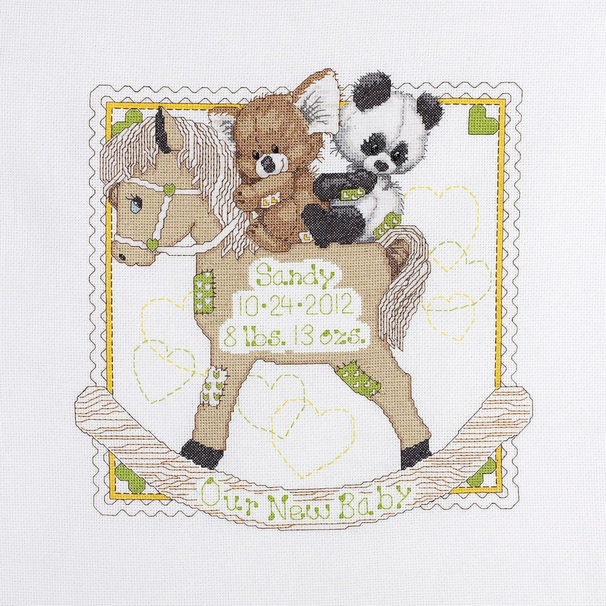 """Rocking Horse Bears Birth Record Counted Cross Stitch Kit-11""""X14"""" 14 Count"""