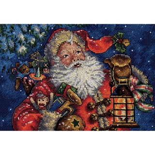 """Gold Collection Petite Nighttime Santa Counted Cross Stitch -10""""X8"""" 18 Count"""