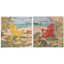 "Beach Chair Duo Counted Cross Stitch Kit-10""X10"" 14 Count Set Of 2"