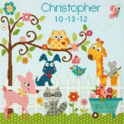 "Baby Hugs Happi Backyard Birth Record Counted Cross Stitch K-12""X12"" 14 Count"