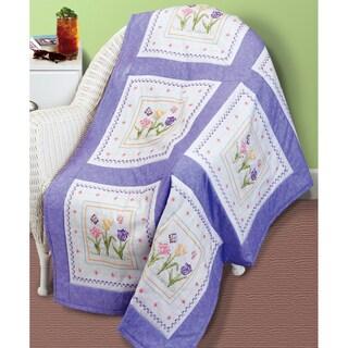 """Tulip Garden Quilt Blocks Stamped Cross Stitch-15""""X15"""" 6/Pkg"""