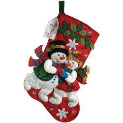 "Snowflake Snuggle Stocking Felt Applique Kit-18"" Long"