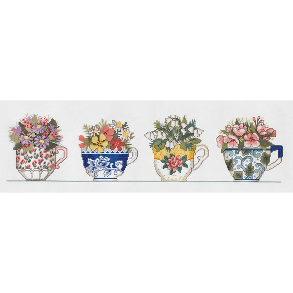 "Row Of Teacups Counted Cross Stitch Kit-20""X5"" 14 Count"