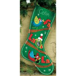 "Fa La La Birds Stocking Felt Applique Kit-19"" Long"
