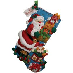 "Gifts From Santa Stocking Felt Applique Kit-18"" Long"