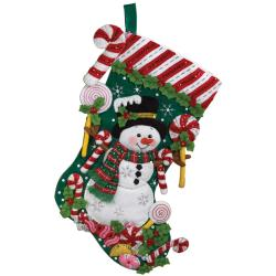 Candy Snowman Stocking Felt Applique Kit-18