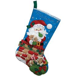 "Santa's Secret Stocking Felt Applique Kit-18"" Long"