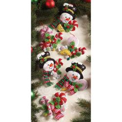 Candy Snowman Ornaments Felt Applique Kit-4-1/2