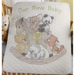 "Rocking Horse Bears Crib Cover Stamped Cross Stitch Kit-34""X43"""