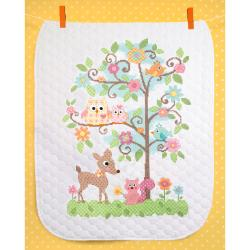 "Baby Hugs Happi Tree Quilt Stamped Cross Stitch Kit-34""x43"""