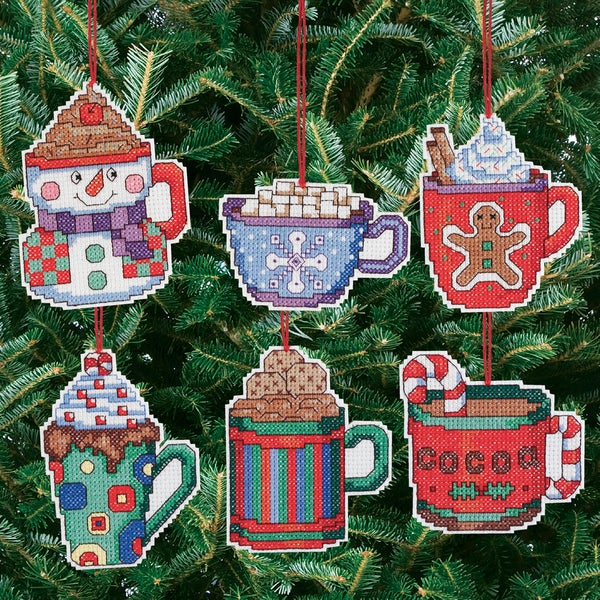 "Cocoa Mug Ornaments Counted Cross Stitch Kit-3-1/2""X3-1/2"" 14 Count Set Of 6 9218221"
