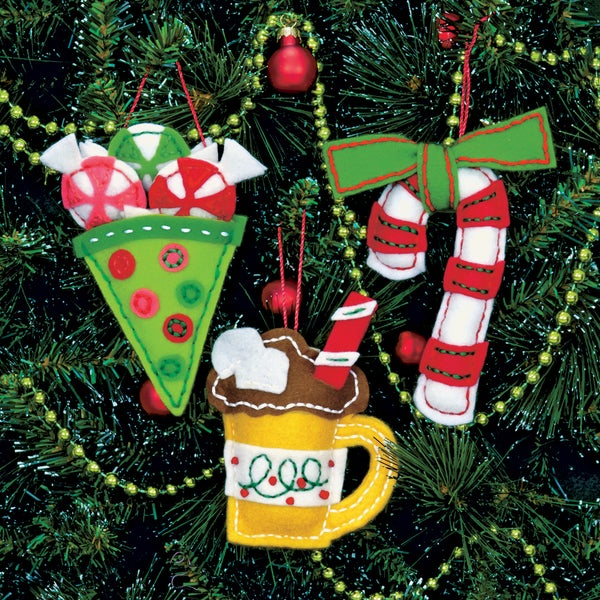 "Sweet Treats Ornaments Felt Applique Kit-3""X5"" Set Of 3"