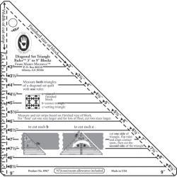 "Small Diagonal Set Triangle Ruler-3""-9"" Blocks"