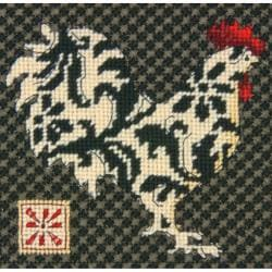 "Black & White Rooster Mini Needlepoint Kit-5""X5"" Stitched In Thread"