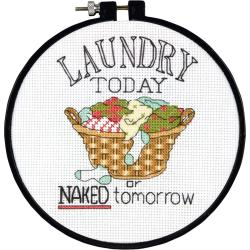 "Learn-A-Craft Laundry Today Counted Cross Stitch Kit-6"" Round 14 Count"