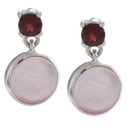 La Preciosa Sterling Silver Pink MOP and Garnet Earrings