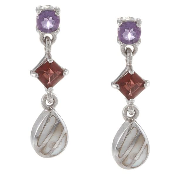 La Preciosa Sterling Silver Amethyst, Garnet and Striped MOP Earrings