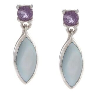 La Preciosa Sterling Silver Blue MOP and Amethyst Earrings