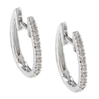 10k White Gold 1/10ct TDW Hoop Diamond Earrings (G-H, I2)