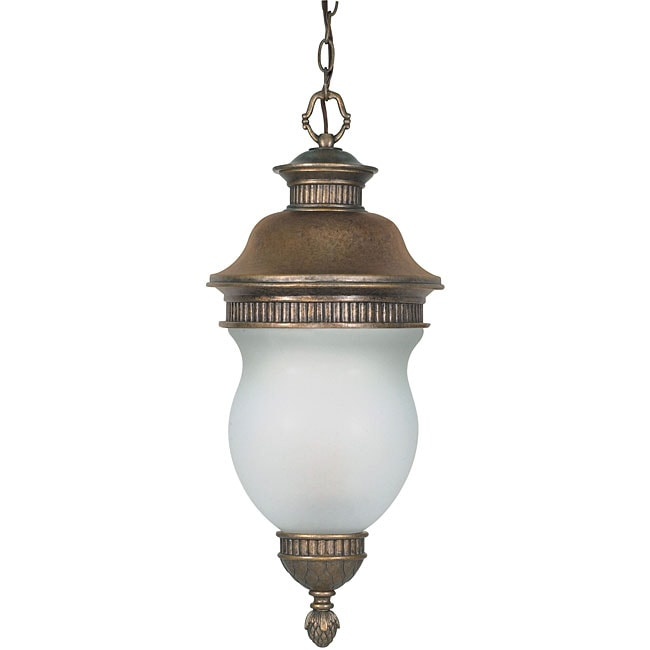 Luxor Platinum Gold with Satin Frosted Glass 3-light Hanging Lantern