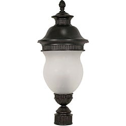 Luxor Chestnut Bronze with Satin Frosted Glass 3-light Post Lantern