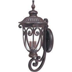 Corniche Arm Up 3-light Burlwood Wall Sconce